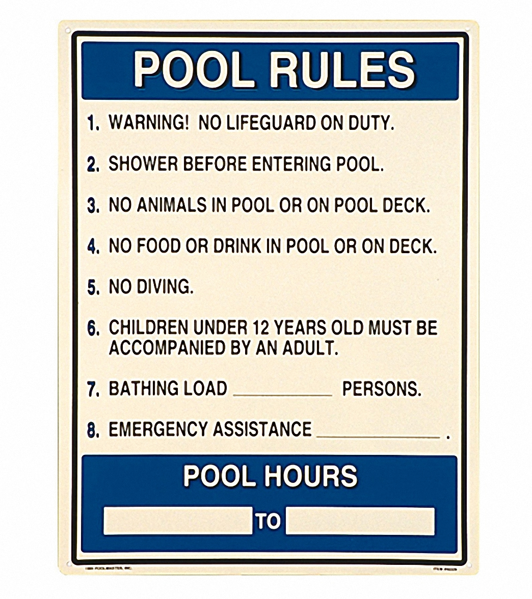 bac2de6e384 Poolmaster Pool Rules Sign with Hours Sign at SwimOutlet.com