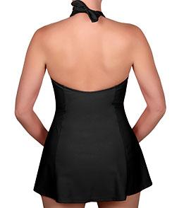 47f2dd2e11 Carol Wior Solid Drape Front Halter Bikini Top Swim Dress at ...