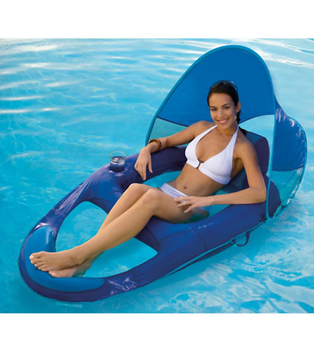 SwimWays Spring Float Recliner with Canopy at SwimOutlet.com - Free ...