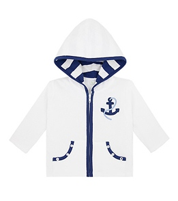 Le Top Infant/Toddler Boys' Ship Ahoy Hooded Terry Jacket