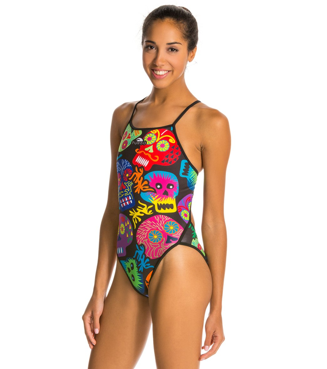 7bb2020bce Turbo Skulls Black One Piece Swimsuit at SwimOutlet.com - Free Shipping