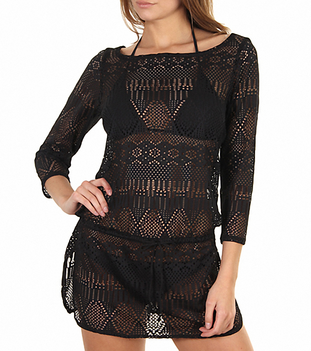 b6d1adcce742c Ralph Lauren Crochet Cover Up Tunic at SwimOutlet.com - Free Shipping
