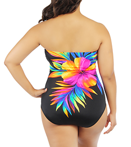 Longitude Womens Super Flower Bandeau One Piece Swimsuit