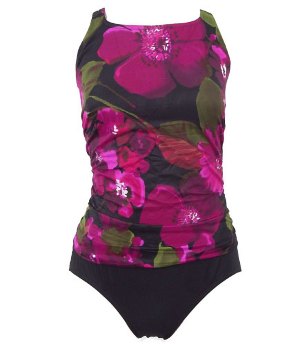 d7606c2242 Carol Wior Purple and Black Mastectomy Scoop Back at SwimOutlet.com
