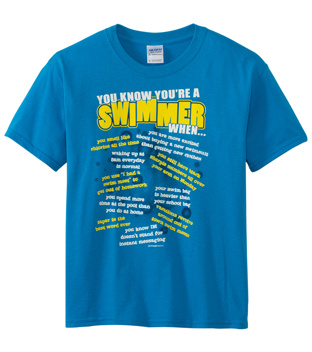 ac666c75 Image Sport Youth 'You Know You're a Swimmer When' -Blue T-Shirt ...