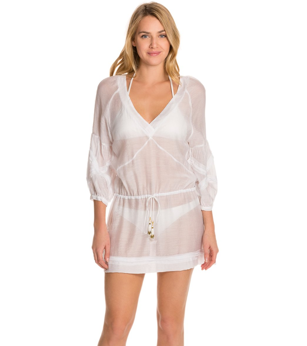 cb7c4fe5fb258 Vix Swimwear Solid White Julie Cover-Up Tunic at SwimOutlet.com - Free  Shipping
