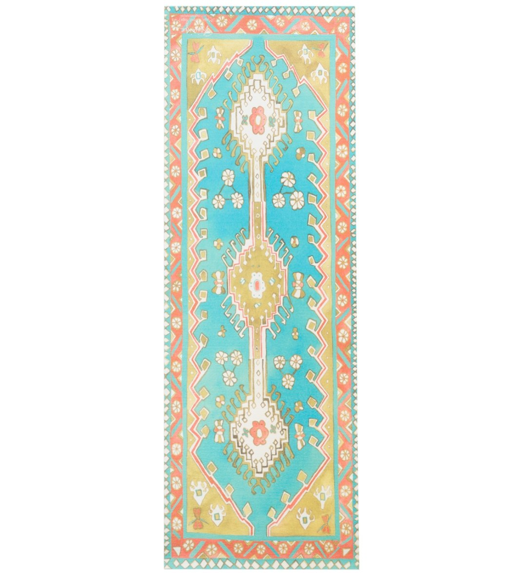"""Magic Carpet Traditional Turquoise Thick Yoga Mat 70"""" 6mm Extra Thick"""