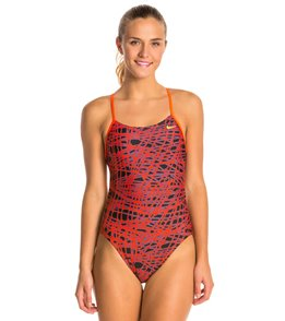 3f4cba39c5a Nike SwimOutlet Exclusive Red/Black Women's Bright Crimson Speed Cut Out  Tank One Piece Swimsuit ...
