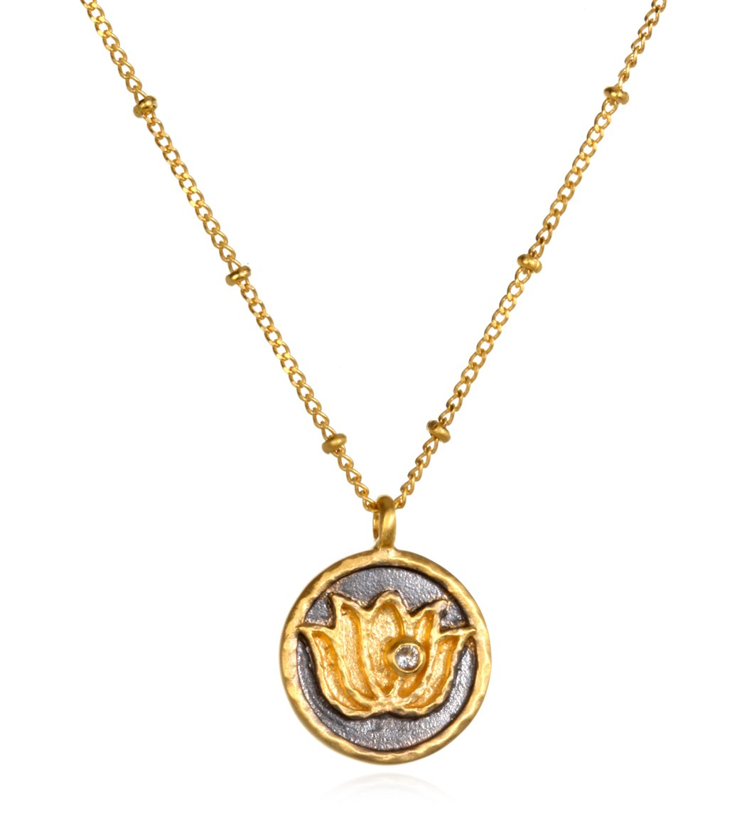 e16f30c3efb280 Satya Jewelry Gold w/ White Topaz Lotus Necklace at YogaOutlet.com ...