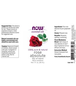 NOW 100% Pure & Natural Rose Absolute 5% Oil Blend 1 oz
