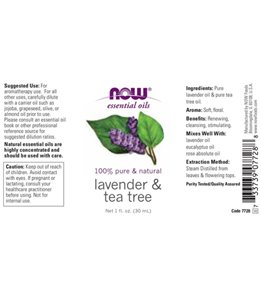 NOW Lavender & Tea Tree 60/40 Oil Blend 1 oz