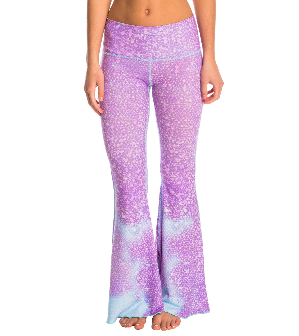 5a3514e0b0 Teeki Lavender Mermaid Fairy Queen Bell Bottom Yoga Pants