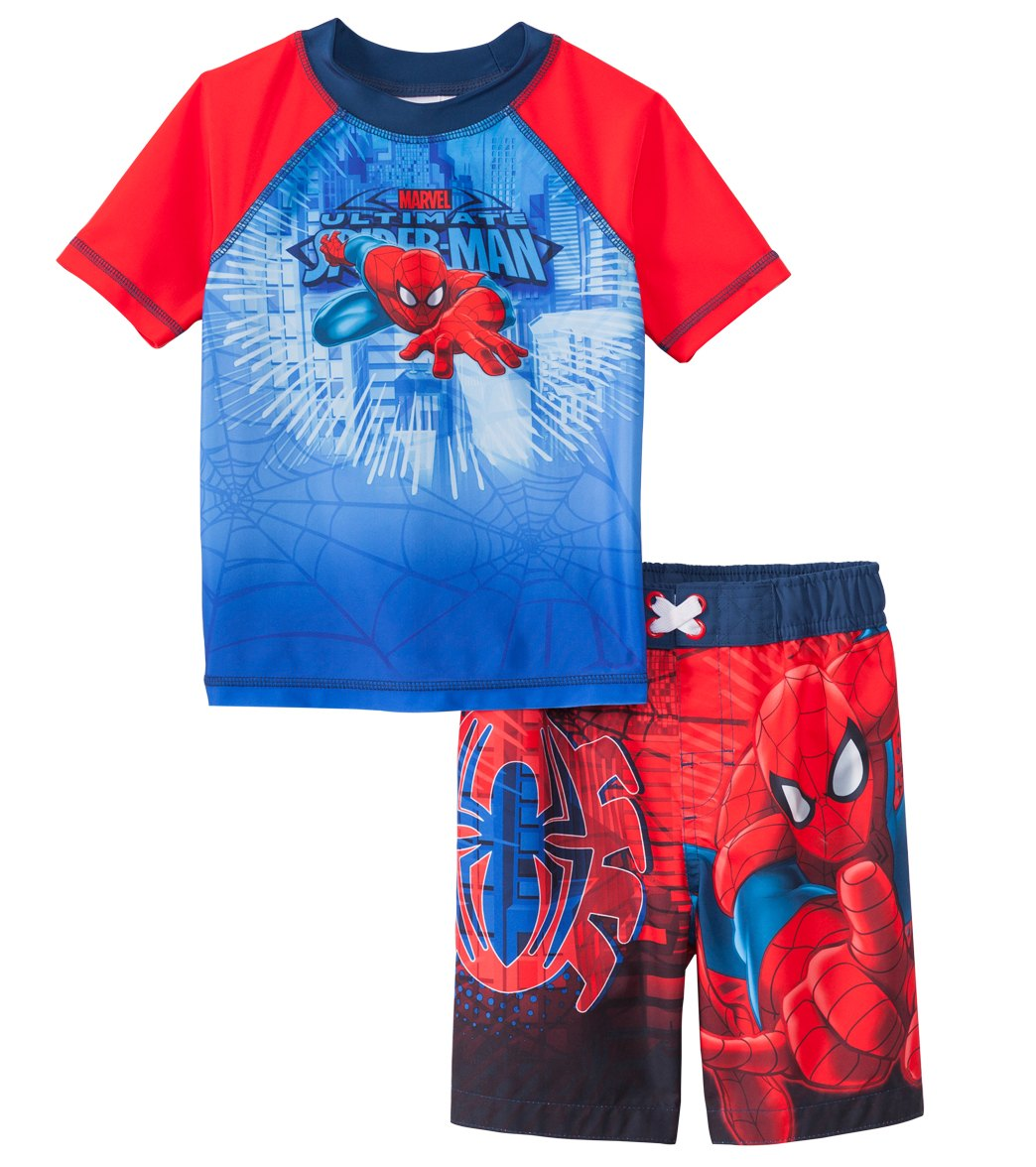 825c5df2e5d0a Swimwear Sets C-Life Avengers Super Hero Little Boys Swim Trunks and Rash  Guard Shirt Set