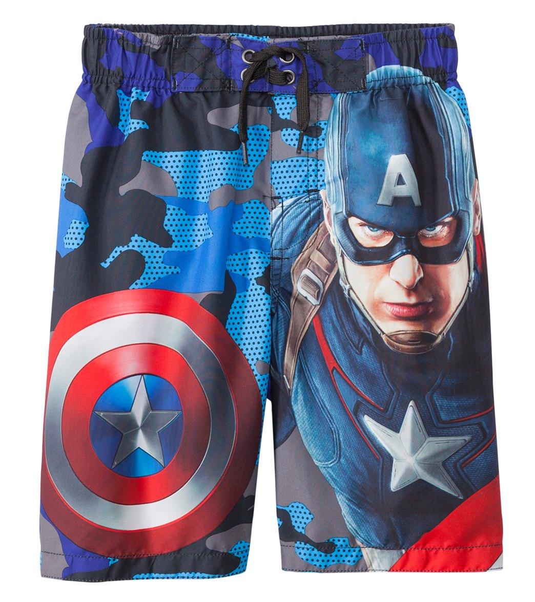 4c9863686e02e Marvel Boys' Captain America Swim Trunks (4-7) at SwimOutlet.com