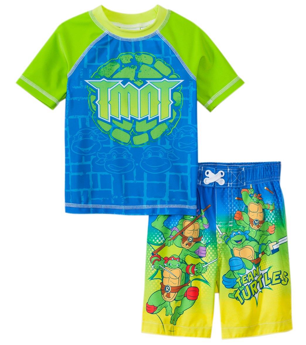 fc6d53e75f Nickelodeon Boys' Teenage Mutant Ninja Turtles Swim Trunks & Rashguard Set  (2T-4T) at SwimOutlet.com