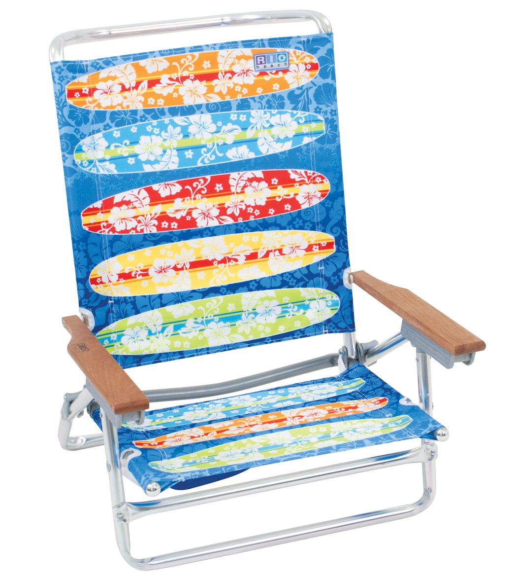 Rio Brands Kowabunga Surf Board Print Classic 5 Position Lay Flat Beach Chair at SwimOutlet