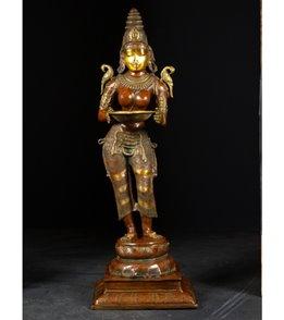 Lotus Sculpture Brass Deepa Lakshmi Statue 51