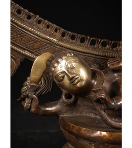 Lotus Sculpture Brass Large Dancing Shiva Nataraja 73