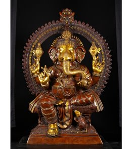Lotus Sculpture Large Brass Seated Ganesha Statue 70