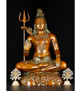 Lotus Sculpture Brass Seated Shiva With Trident Sculpture 24