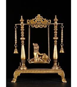 Lotus Sculpture Brass Butter Krishna On Swing 16