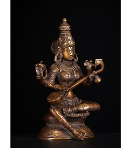 Lotus Sculpture Seated Saraswati Statue Playing The Veena 8