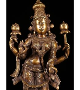 Lotus Sculpture Brass Standing Lakshmi with 2 Lotus Flowers 19