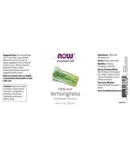 NOW 100% Pure Lemongrass Oil 4 oz