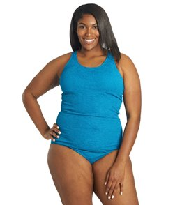 Sporti Plus Size Textured High Neck One Piece Slimsuit