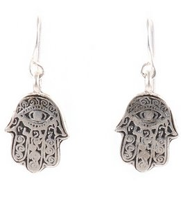 Silver & Sage Silver Hamsa Charm Earrings