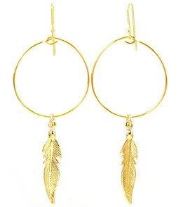 Silver & Sage Gold Feather Hoop Earrings