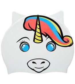 Sporti Cartoon Rainbow Unicorn Silicone Swim Cap Jr.