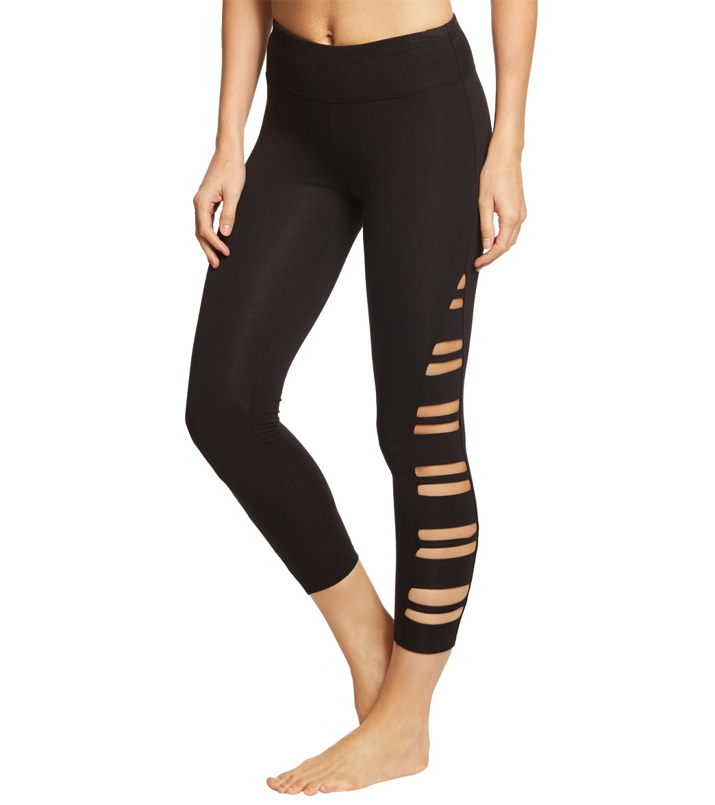 75a952eb61db34 Betsey Johnson Performance Side Band Cutout 7/8 Yoga Leggings at  YogaOutlet.com - Free Shipping
