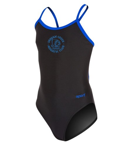 Sporti Solid Piped Thin Strap One Piece Swimsuit Youth (22-28)