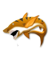 H2O-Toos Swim Tattoos Black/Orange Tiger Shark