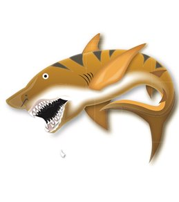 H2O-Toos Swim Tattoos Black/Orange Tiger Shark