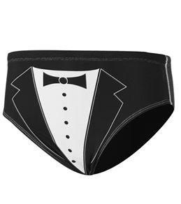 Splish Tuxedo Black and White Brief Swimsuit