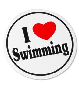 Bay Six I Love Swimming Black/White Round Decal