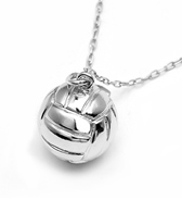 Sports Collection Jewelry Large Silver Water Polo Ball Pendant Rhodium Plated