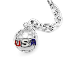 Sports Collection Jewelry Large Silver Water Polo Ball with USA Pendant Rhodium Plated