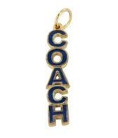 Sports Collection Jewelry Blue Enamel Vertical COACH Charm 14K Gold Plated
