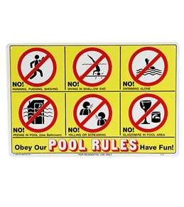 Poolmaster Icon Pool Rules 18 X 12 Sign
