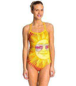 HARDCORESPORT Women's Shades Yellow Cali Back One Piece Swimsuit
