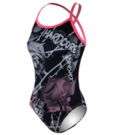HARDCORESPORT Women's Black/Pink Thorns X Back One Piece Swimsuit