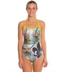 HARDCORESPORT Women's Mardi Gras White/Gray/Yellow Cali Back One Piece Swimsuit