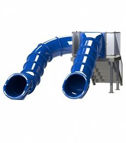 Spectrum Double Flume Slides on Left & Center Rear Stair Pool Slide