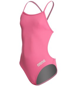 Arena Girls' Mast Thin Strap Open Racer Back One Piece Swimsuit