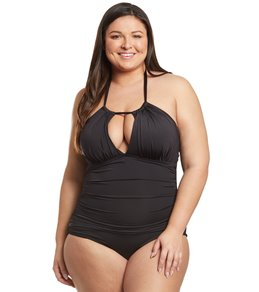 Kenneth Cole Reaction Plus Size High Neck One Piece Swimsuit