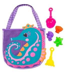Stephen Joseph Kids' Seahorse Beach Tote (Includes Sand Toy Set)