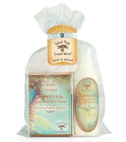 Island Soap and Candle Works Hawaiian Coconut Oil Soap and Hawaiian Botanical Lotion Gift Bag
